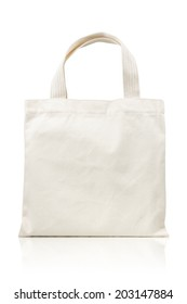 white fabric bag isolated on white background. Include clipping path.