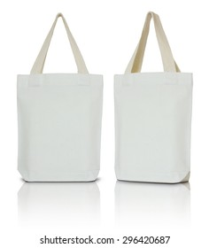 white fabric bag on white background