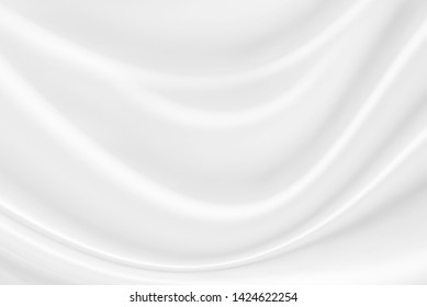White fabric, cloth wave texture background, Empty space. / Soft image.