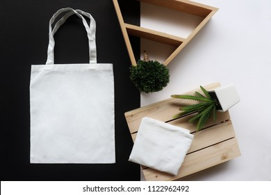 white fabric tote bag for save environment on black and white background
