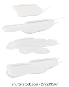 White Face Cream Swatches Isolated on white