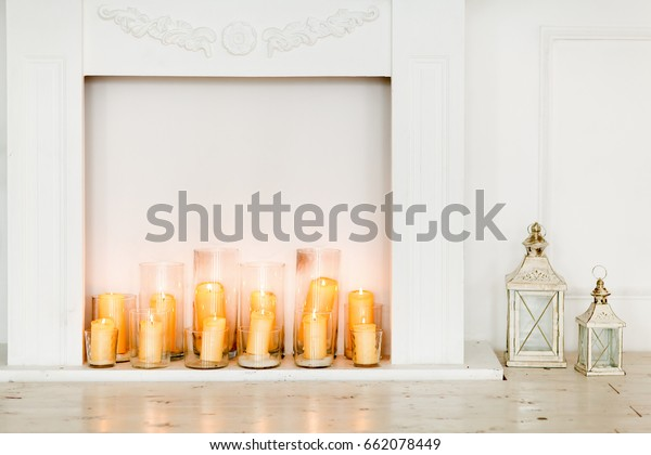 White Fake Fireplace Burning Candles Transparent Stock Photo Edit
