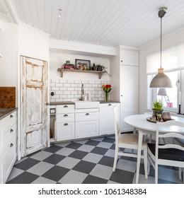 White fancy Kitchen Interior with furniture