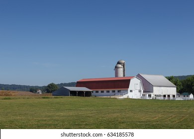 White farm buildings with large meadow in foreground