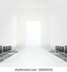 White fashion podium empty runway