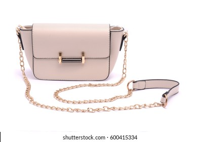White fashion woman clutch with the golden furniture