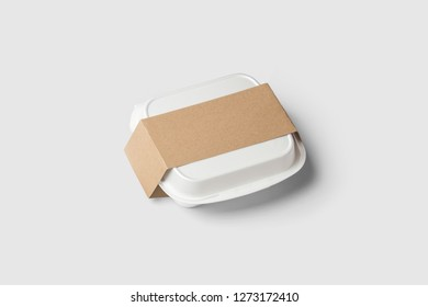 White Fast Food Box Container with label Packaging Package Packing Pack Isolated on white Background.High resolution photo.Top view