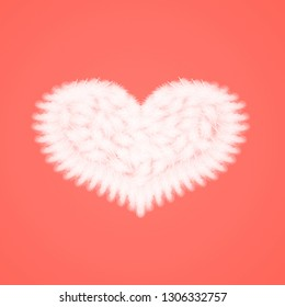 white feathers in the shape of heart on the living coral background, love theme, valentine's day