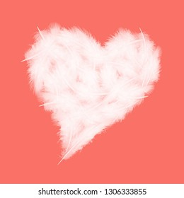 white feathers in the shape of heart on the living coral background, love theme, valentine's day concept