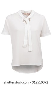 white female blouse with short sleeves