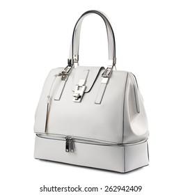 White female handbag isolated on white background.
