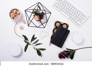 White feminine tabletop flatlay