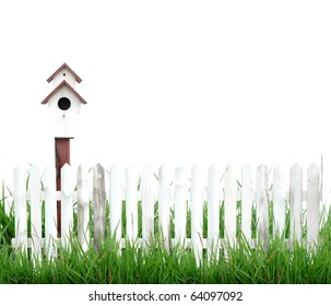 white fence with bird house isolated