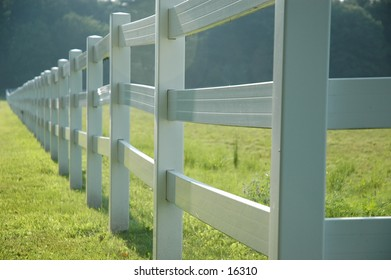 White fence running diagonally through the image.
