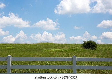 white fenced pasture with blue sky