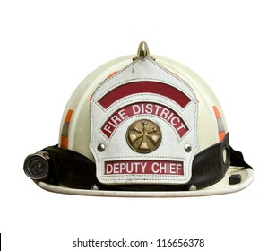 white firemans hat isolated over a white background with a clipping path at original size