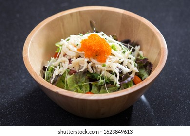White fish Shirauo salad a taste of the Japanese food