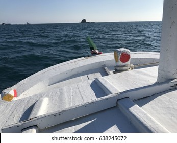 White fishing boat on the sea