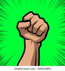 white fist with green background
