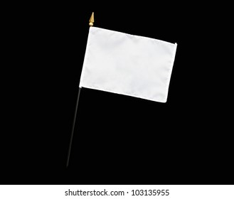 White flag with flagpole isolated on black background with room for your text