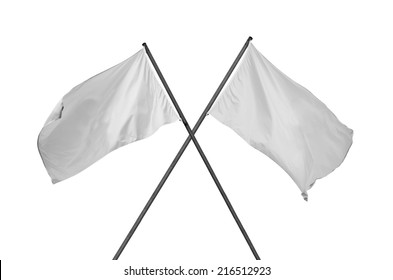 white flag. Two blank and cleared white flags crossed. Crossed white flags isolated on white.
