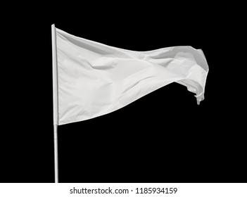 White flag waving in the wind, isolated on black background