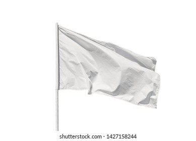 White flag waving in the wind, isolated on white background