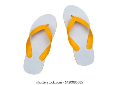 White flip flops, sandals or slippers isolated on white background.