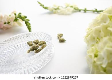 White Floral Cannabis Flowers With Marijuana Buds Close Up - Cannabis Wedding