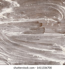 White Flour On Wooden Table, Top View, Crop