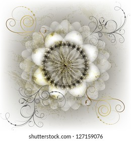 White flower with gold leaf on marble background. Raster copy of vector image