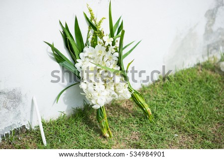 White flower put between wall ground stock photo edit now white flower put between wall and ground for mourn over some persons death mightylinksfo