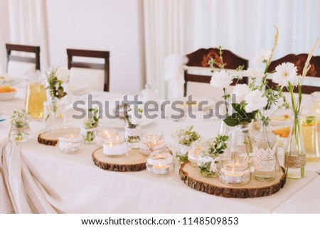 White Flowers Glass Candles Wood Lace Stock Photo Edit Now