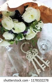 white flowers & key