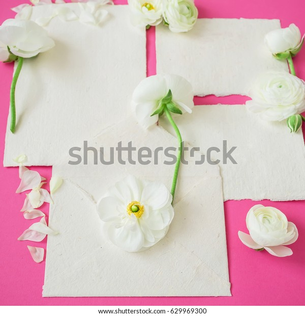 White Flowers Paper Envelope Cards On Stock Image Download Now