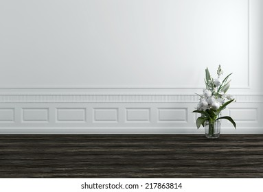 White Flowers in Vase in White Hallway with Copyspace