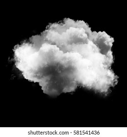 White fluffy cloud isolated over black background, realistic cloud or smoke 3D rendering illustration