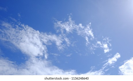 White fluffy clouds with blue sky in bright day for background texture