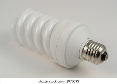 White fluorescent bulb spiral form