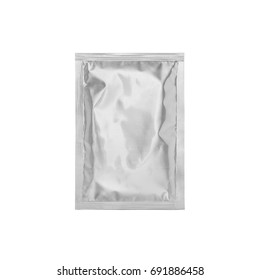 White Foil Blank paper sachet bag isolated on white background. Packaging template mockup collection. With clipping Path included.