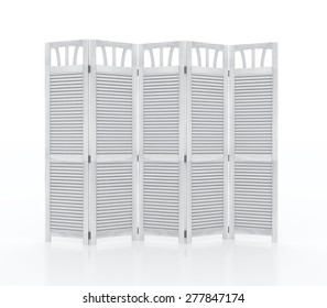 White fold screen furniture isolated on white background
