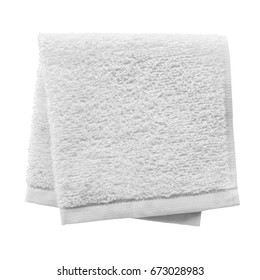 White folded towel isolated on white background
