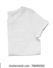 White folded t-shirt isolated on white background. Flat lay.