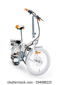 White folding electric bike isolated on a white background with a full clipping path