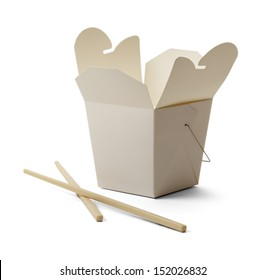 White Food Container and Chopsticks with Copy Space Isolated on White Background.