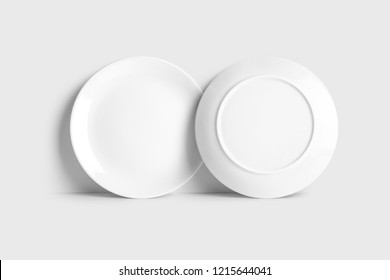 White food dish plate front and back view closeup. Mock-up isolated on soft gray background.Top view.