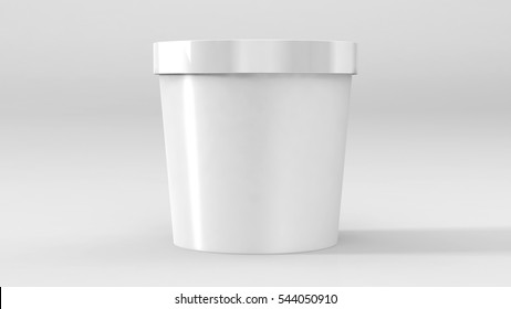 White Food Plastic Tub Container For Dessert, Yogurt, Ice Cream, Sour Sream Or Snack. Ready For Your Design. Product Packing Vector