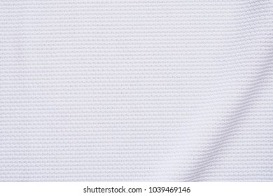 White football jersey clothing fabric texture sports wear background, close up