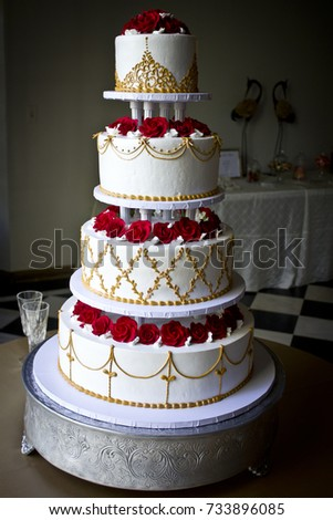 White Four Tiered Wedding Cake Red Roses Stock Photo Edit Now