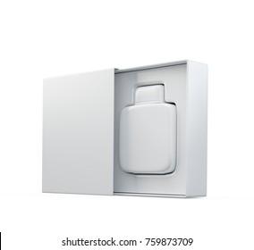 White fragrance perfume bottle mockup in open box. 3d render. Isolated on white.